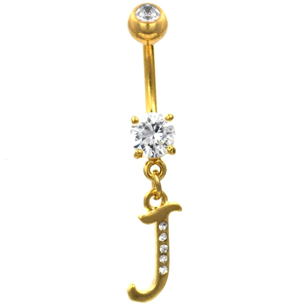 "Initial Letter ""J"" Gemmed Gold Belly Button Ring ..."