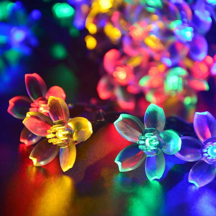 Outdoor Led Solar Light IP65 LED String Peach Cherry Blossoms - solar christmas decorations