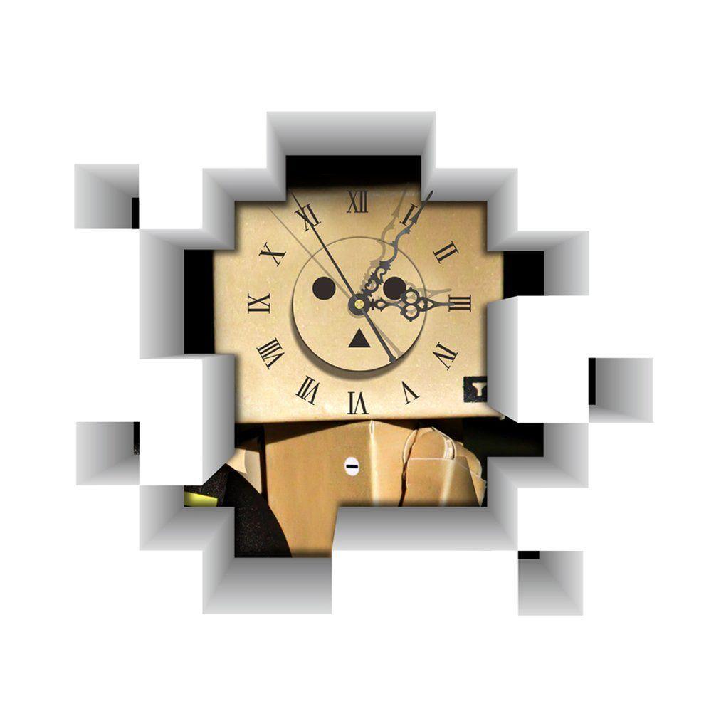 DIY 3D Art Wall Clock Decals Robot Blockhead Wall Hole Clock ...