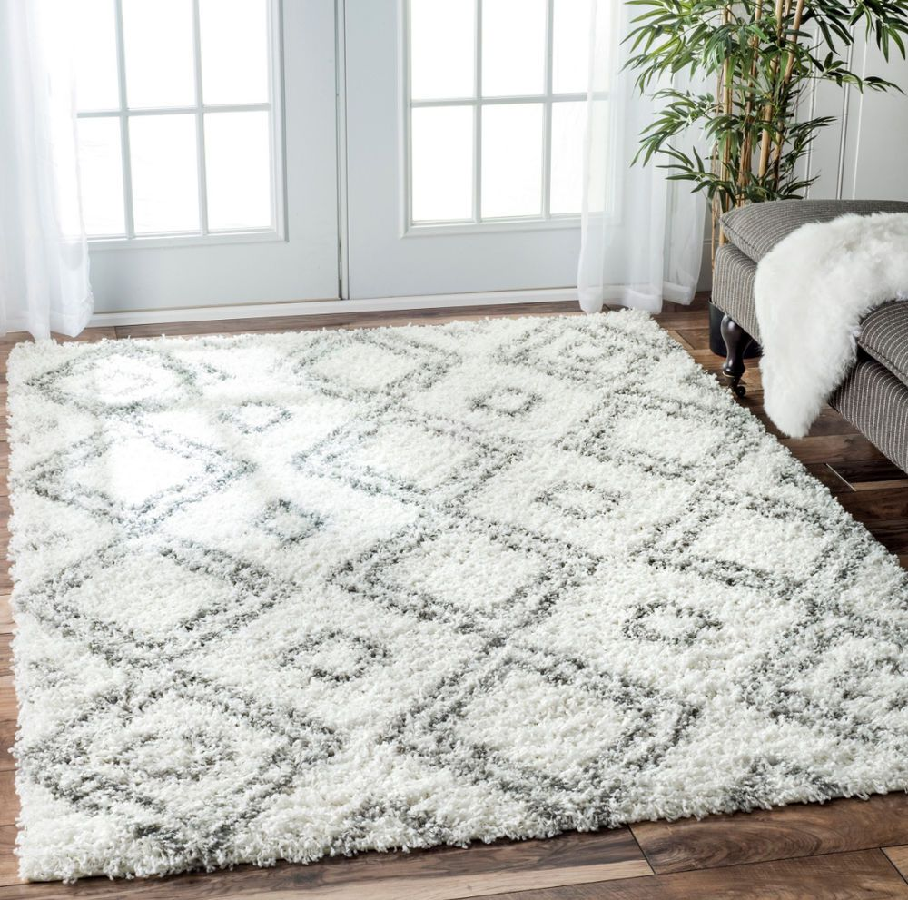 White Shag Rug 8x10 Bedroom Home Kitchen Grey Carpet Flooring Shag