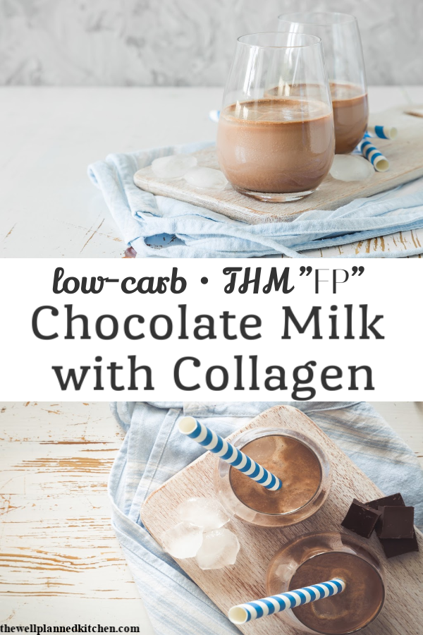 Quick, easy, low-carb chocolate milk! This version is made with collagen and it's so quick and easy I make it every day! #thm #trimhealthymama #healthychocolateshakes