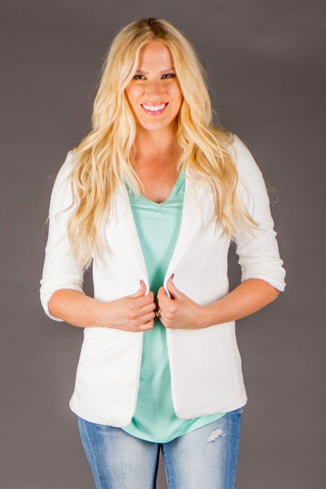 RubyClaire Boutique - Hooked On Class Blazer >IVORY<, $42.00 (http://www.rubyclaireboutique.com/hooked-on-class-blazer-ivory/)