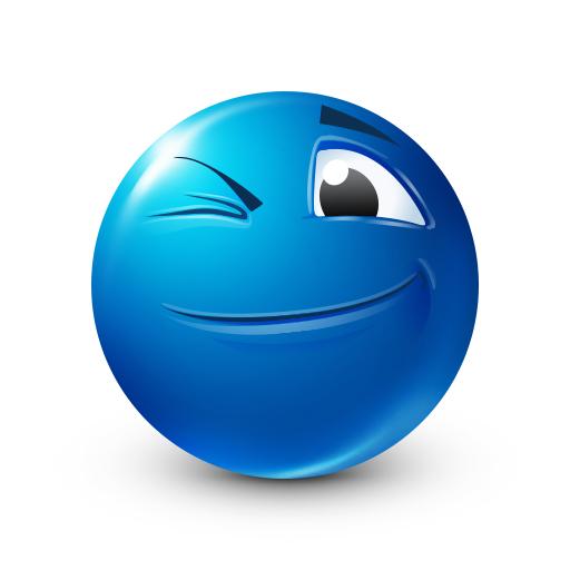 Wink Blue Emoji Emoticon Emoji Backgrounds