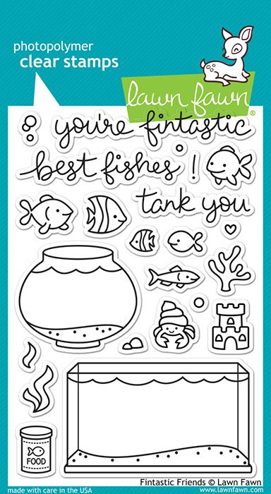 Lawn Fawn  Clear Photopolymer Stamps  Fintastic Friends is part of lawn Fawn Fintastic - You'll have a  fintastic  time crafting with this cute set of 23 clear stamps  This set contains an aquarium, fish bowl, fish food, assorted fish, plant life, ornaments, and sentiments to match! This stamp set coordinates perfectly with Fintastic Friends Lawn Cuts custom craft dies  This package includes 23 clear acrylic stamps on a 4  x 6  storage sheet  Made in the USA  Color Match c ffffff c f0f0f0 c 00a8a8 c d8d8d8 c 909090 c a8a8a8 c c0c0c0 c 90d8d8 c fffff0 c 90c048  All Matches Brand Lawn Fawn Category Stamping (Photopolymer Stamps) Themes Animals and Pets, Beach, Friends, Appreciation, Card Making SKU lflf891 UPC 035127961071 Link Get Link or Embed Code