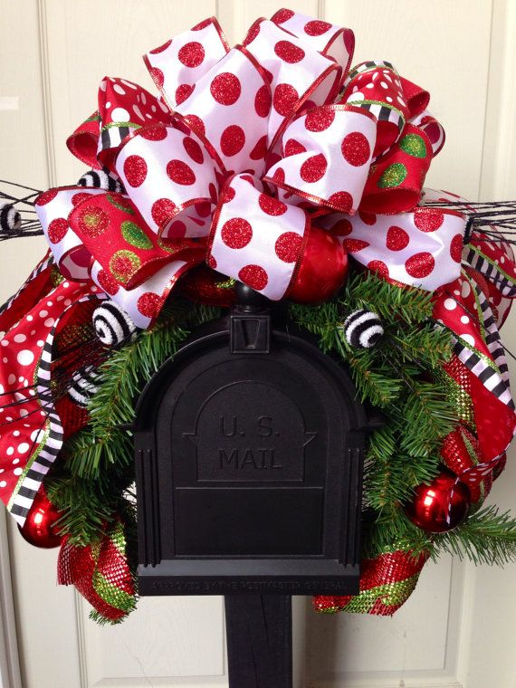Mailbox Christmas Decorations.Christmas Mailbox Swag Mailbox Decor Red And Green