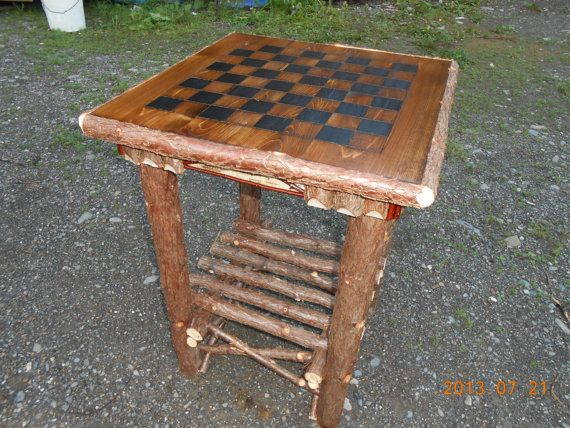Handcrafted Rustic Cedar Log Game Table W Birch Accents Rustic