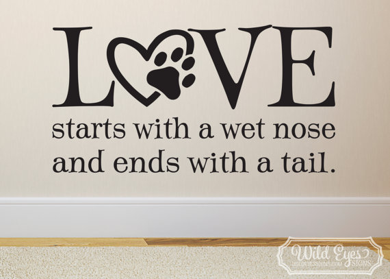 Love Starts With A Wet Nose And Ends With A Tail Wall Vinyl Decal