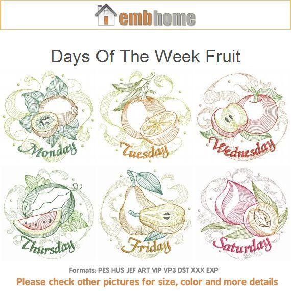 Giorni della settimana frutta macchina ricamo disegni Instant