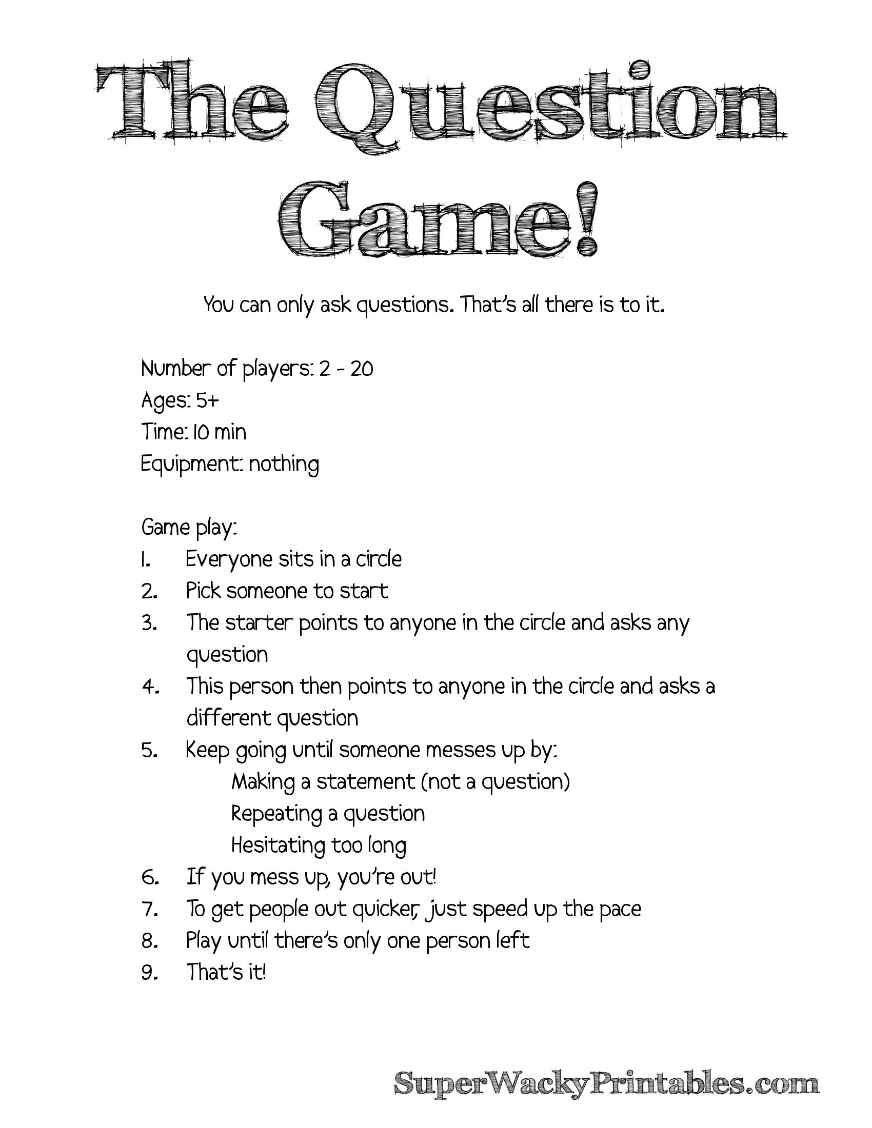 The Question Game Simple And Hilarious Free Printable