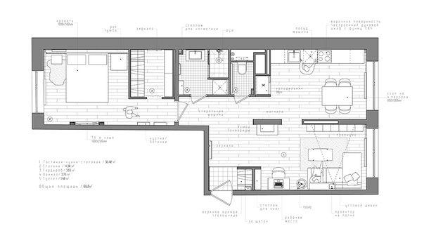 Plano de un piso de 60 metros cuadrados planos for Decorar piso de 60 metros cuadrados