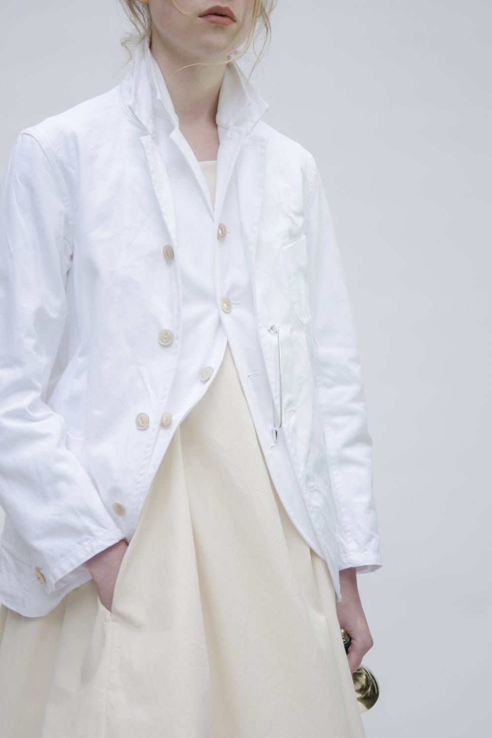 Egg of London / Arts and Science jacket***white summer blazer with collar duplicated on vest!!!  s-c