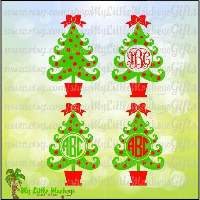 Curly Christmas Tree Monogram Base Digital File Svg Eps Dxf Jpeg Transparent Background Png Instant Download Pin Vinyl Crafts Monkey Gifts