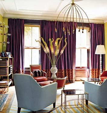 love the purple drapes agasint the green wallsrec room Color - vorhänge für schlafzimmer