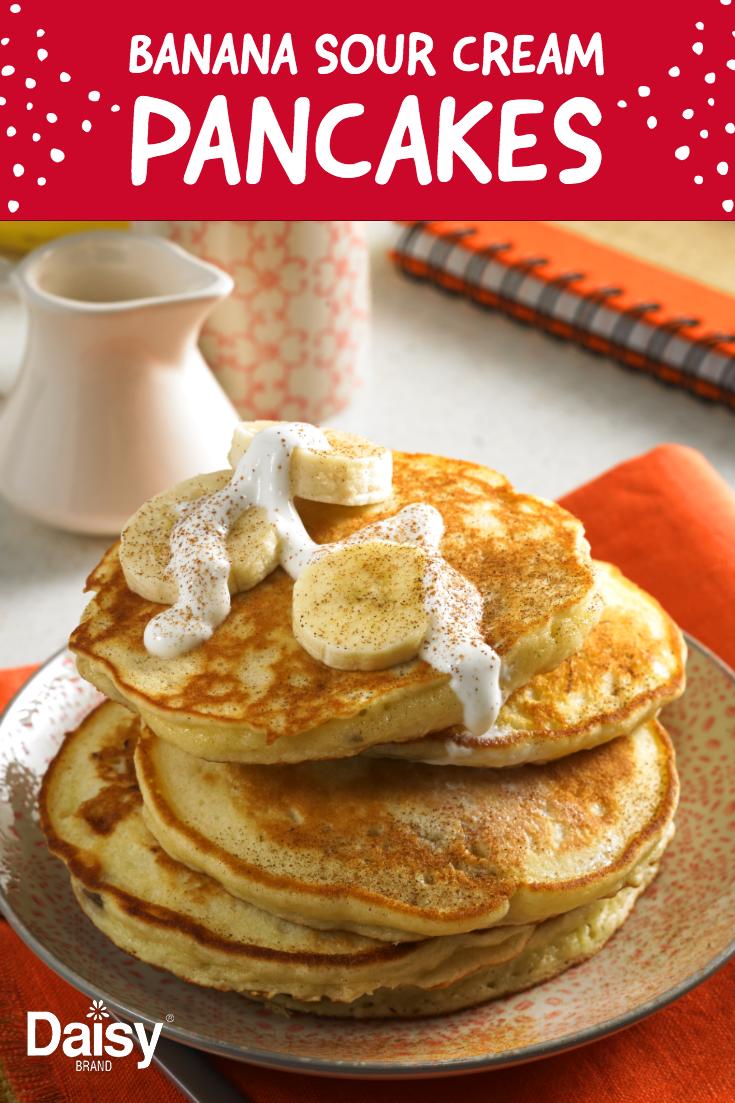 Banana Sour Cream Pancakes Daisy Brand Sour Cream Cottage Cheese Recipe Baked Breakfast Recipes Brunch Dishes Breakfast Brunch Recipes