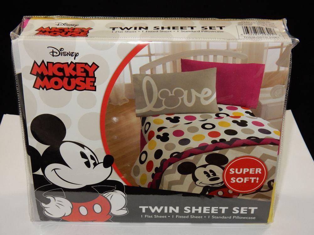 "Disney Mickey Mouse Love ""Chevron & Dots"" Twin Sheet Set Bedding NEW #DisneyMickeyMouse"