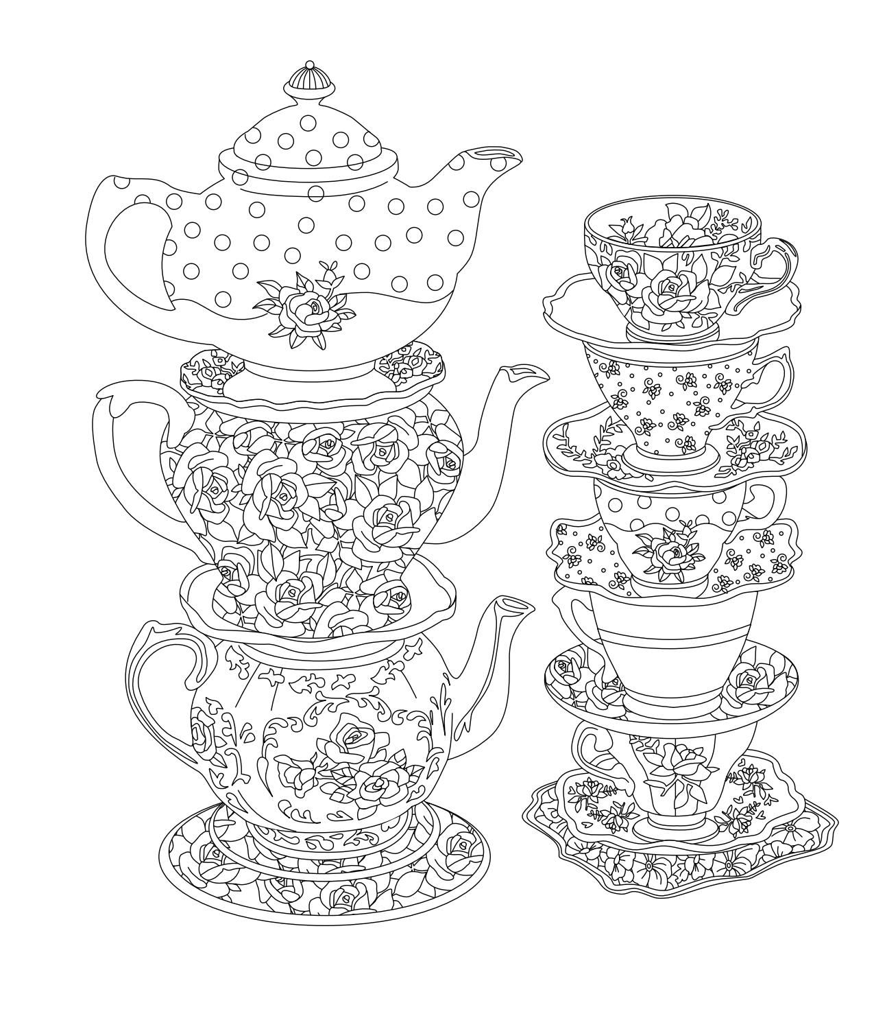 Elegant Tea Party Coloring Book  Coloring pages, Coloring books