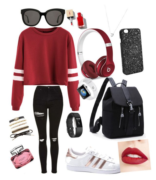 """Mall outfit"" by sis070306 on Polyvore featuring adidas, Beats by Dr. Dre, Gentle Monster, Fitbit, Victoria's Secret, Charlotte Russe, Links of London, Jouer and Gucci"