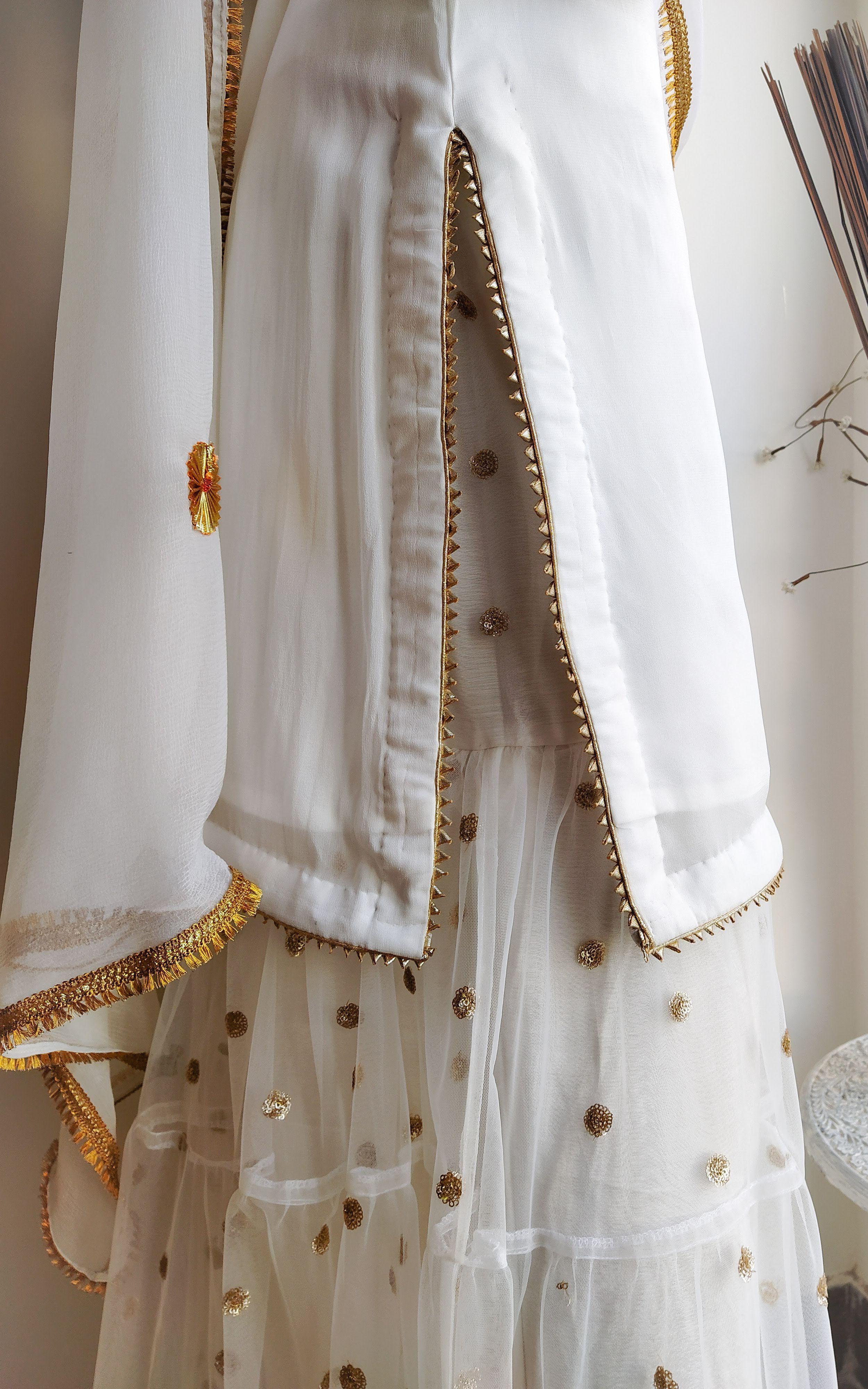 Kurti with gotta on neckline and bottom  # Kurti sleeves with gota flowers and gota lace  sharara with gota lace