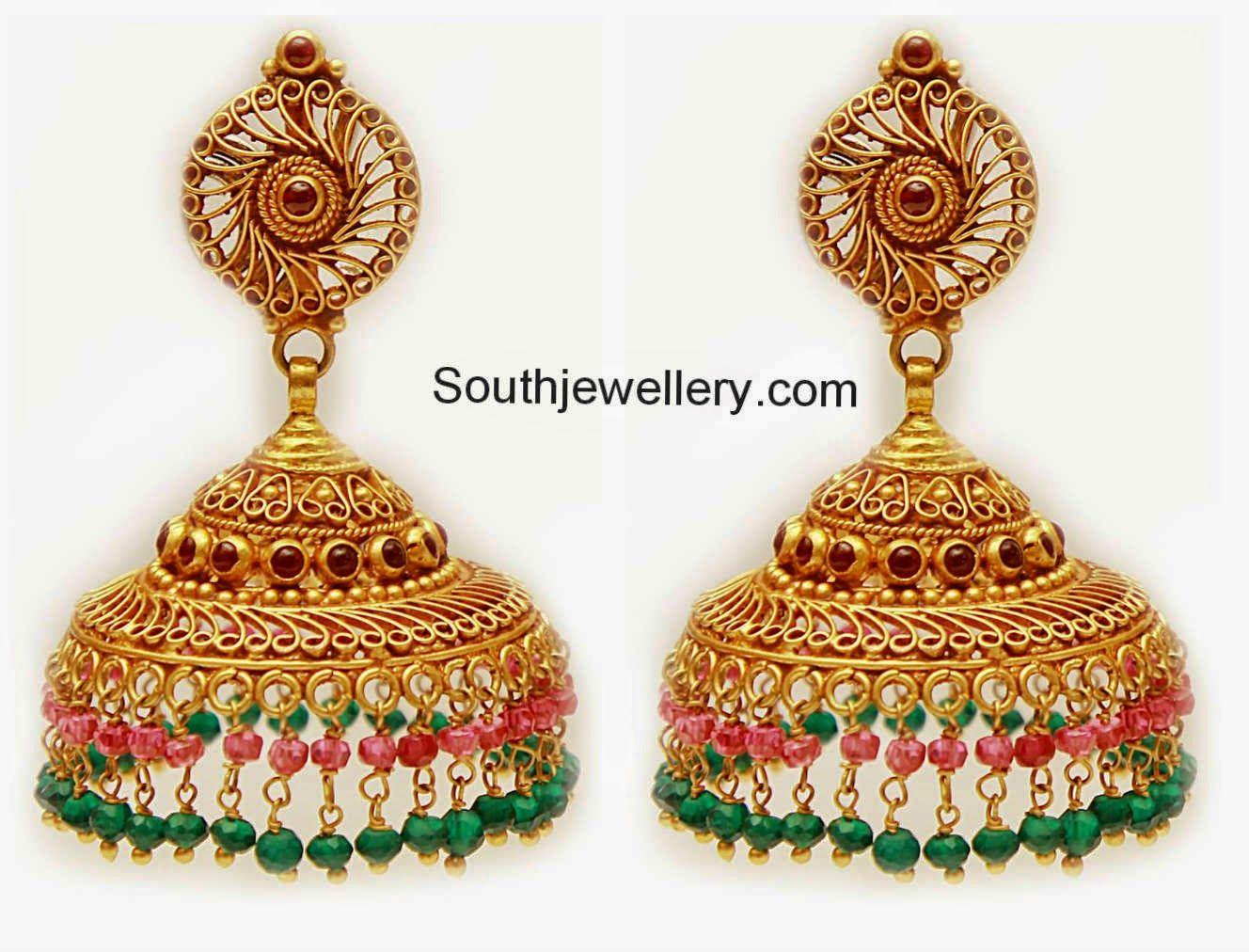gold jhumkas | Southjewellery.com - Latest Indian Jewellery ...