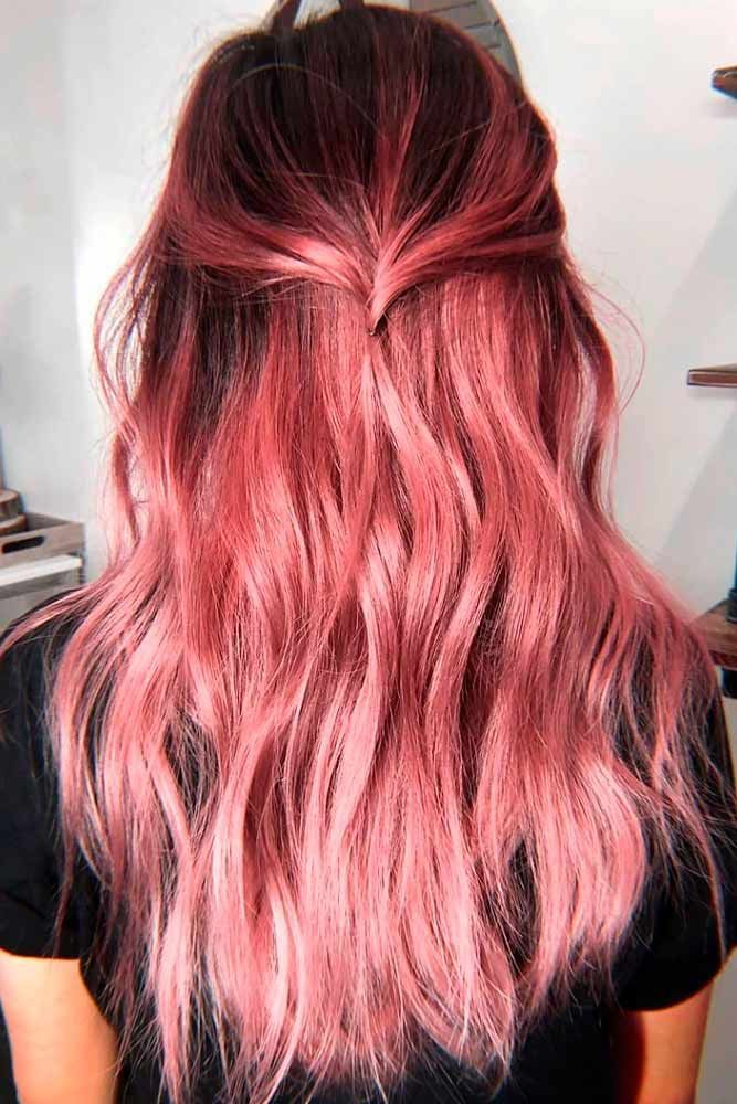 Find Your Personal Favorite In Fall Hair Colors With Us #fallhaircolors Rose Gold #rosegoldhair #coloredhair ★ Fall hair colors ideas for brunettes and for blonds. Follow the trends and try red, caramel, dark chocolate brown or auburn shade on yourself. ★ #glaminati #lifestyle #fallhaircolors
