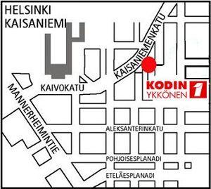 Kodin1, Kaisaniemi, Helsinki. Kaisaniemenkatu 5, 00100 HELSINKI.  Puh. 01053 46500. Aukioloajat: ma-pe 10-21, la 10-18, su 12-18 (poikkeukset mahdollisia).