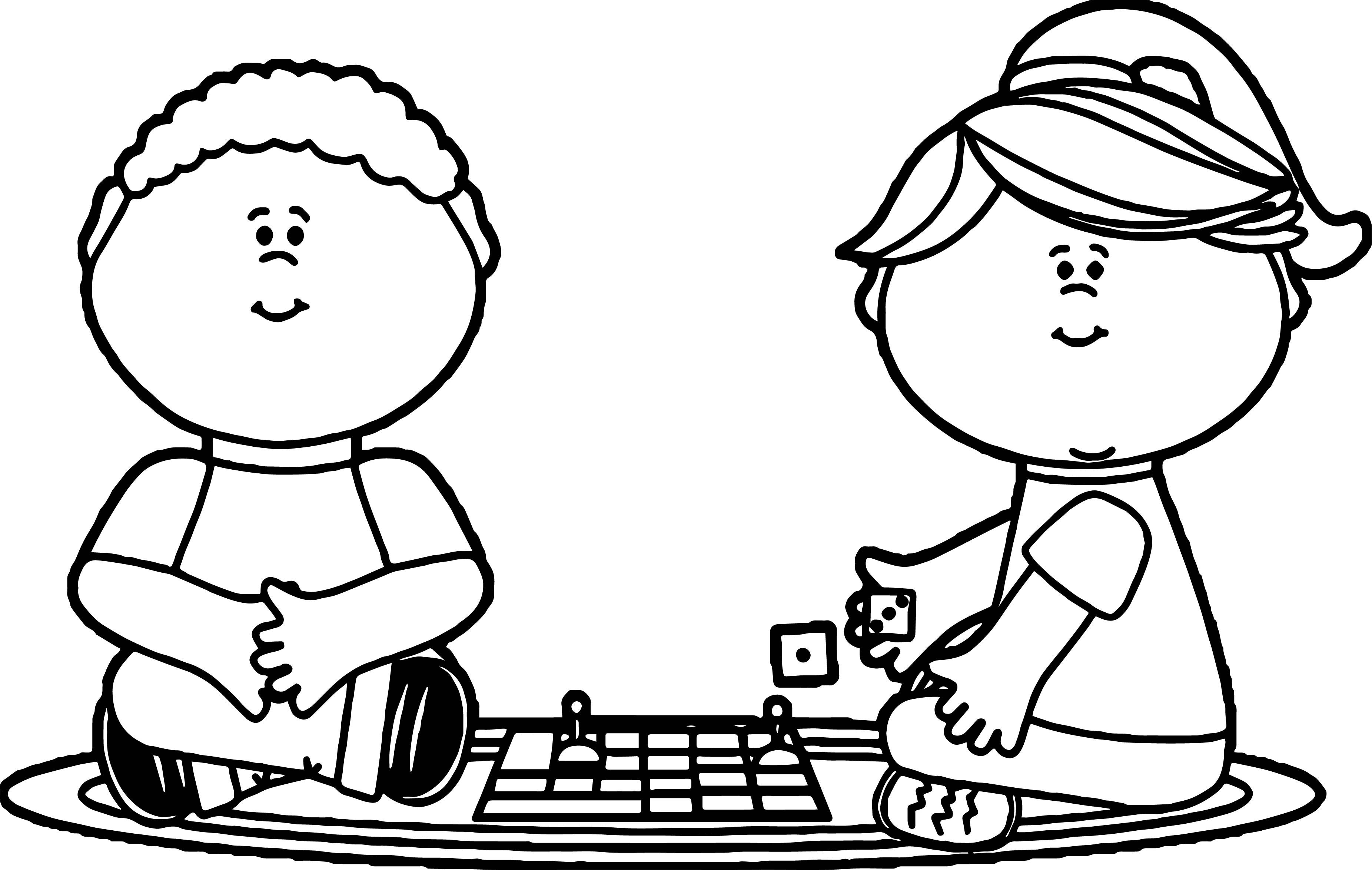 Kids Playing Board Games Coloring Page