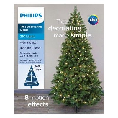 Philips 210ct Christmas Led Tree Decorating Lights Warm White 8