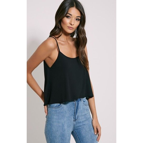 Basic Black Jersey Swing Cami Top-4 (£6) ❤ liked on Polyvore featuring tops, black, cami top, loose fit tank, camisole tank tops, cami tank and loose fit tank top