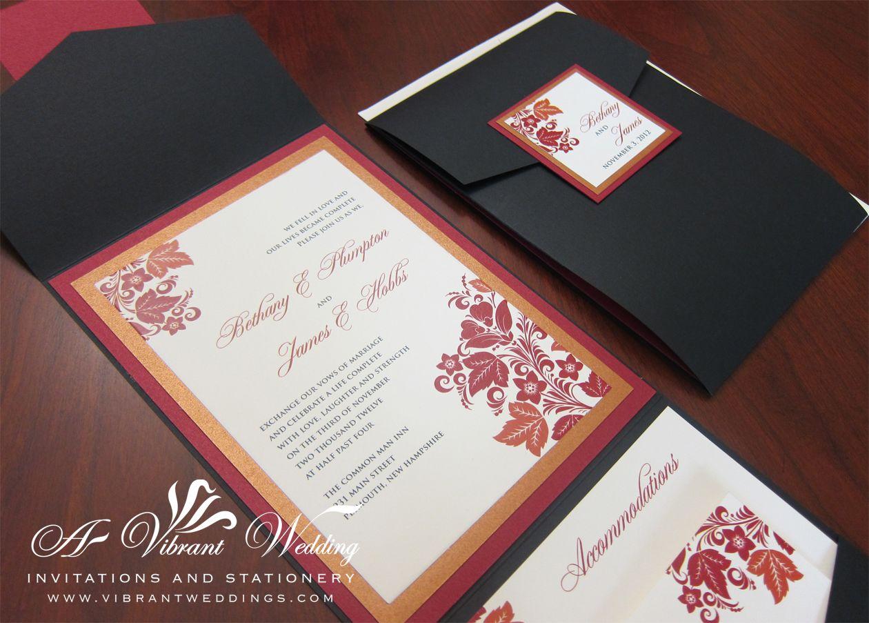 Fall Wedding Invitation Black Pocketfold With Red Orange Design