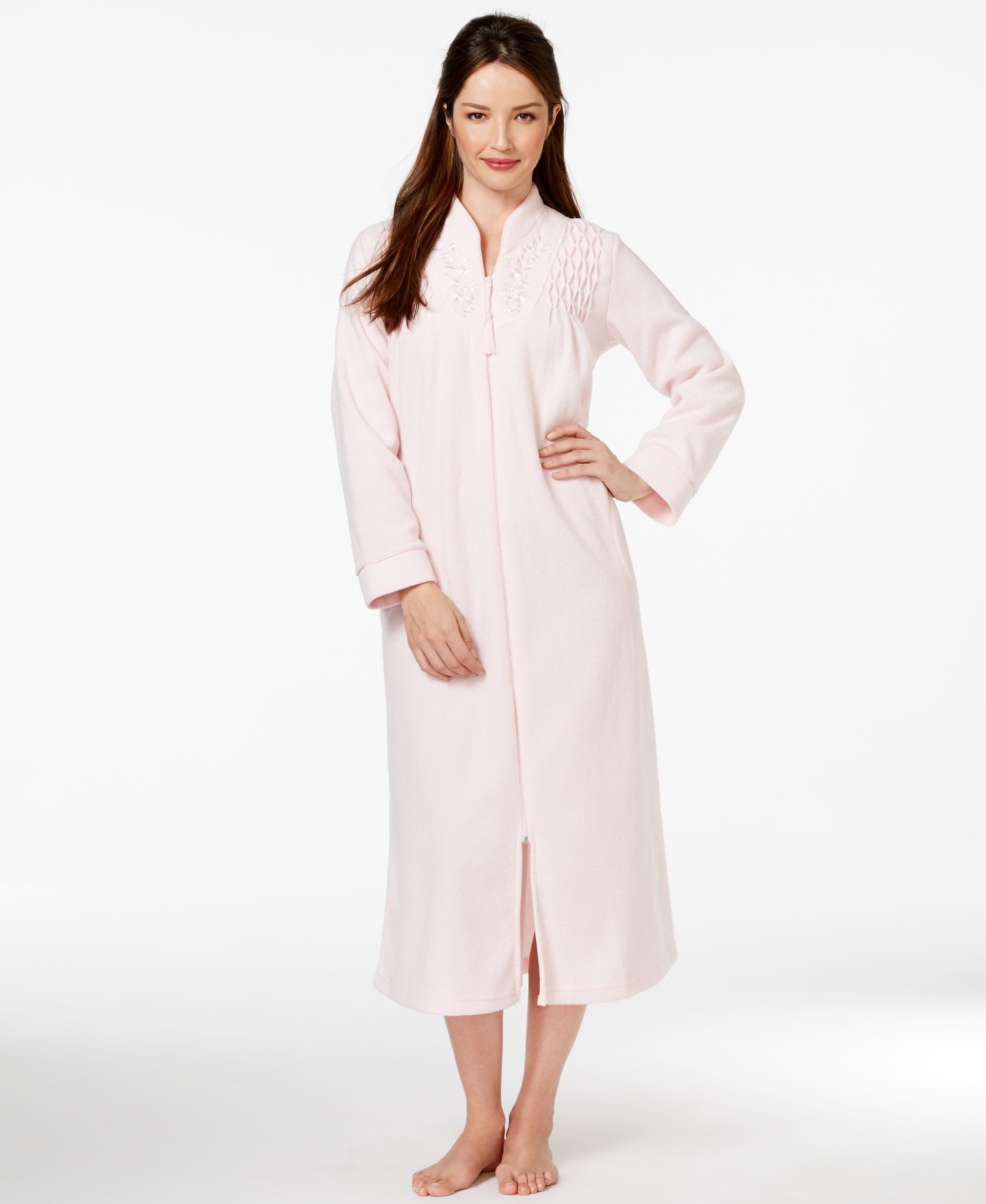 db1b004a7e Miss Elaine Zip Up Long Robe
