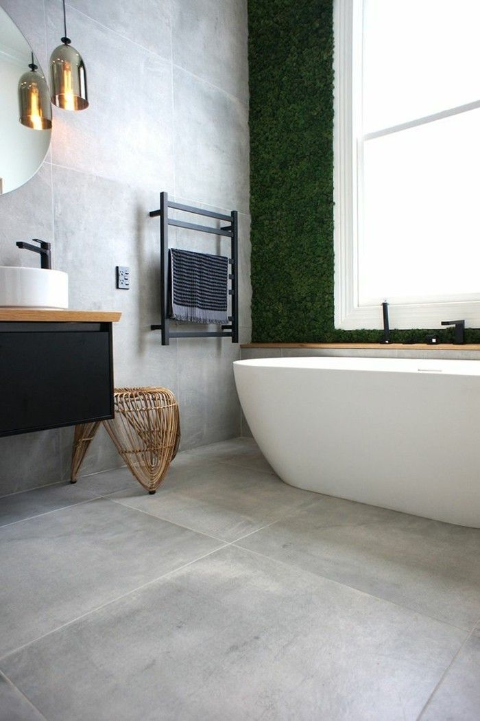 Schon Ideen Für Wandgestaltung Badezimmer Fliesen Hellgrau Badewanne Hängelampe