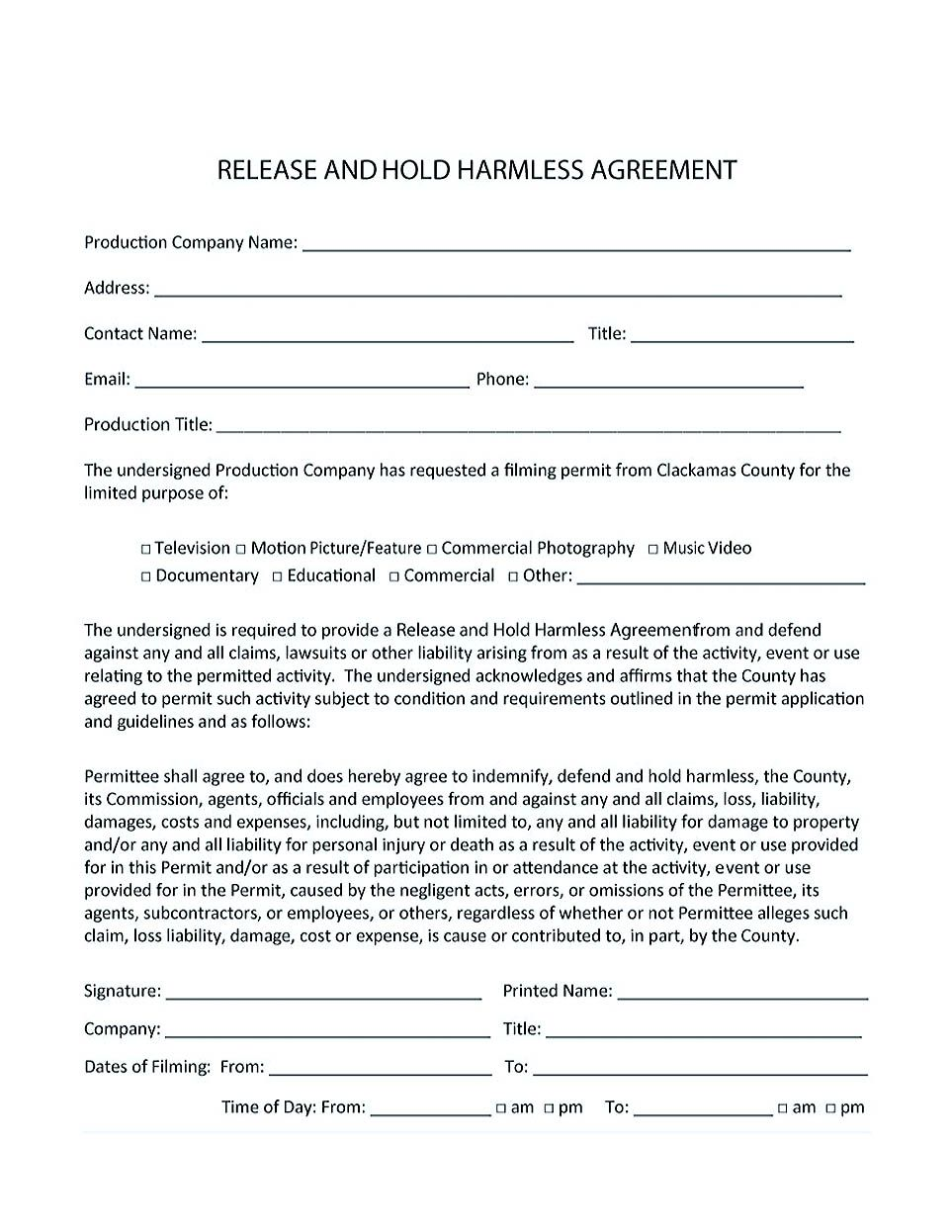 Hold Harmless Agreement Construction , Making Hold Harmless Agreement  Template For Different Purposes , Hold Harmless