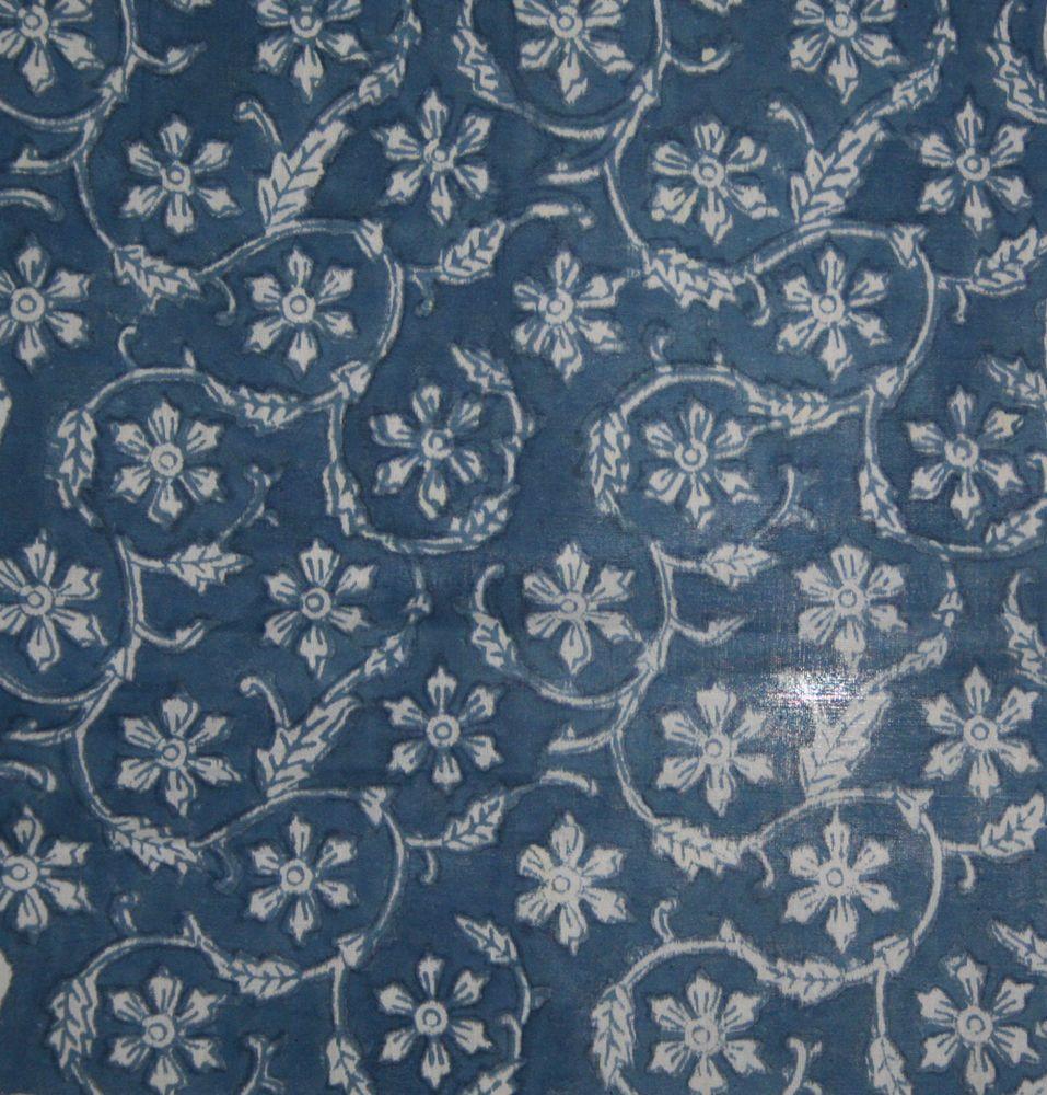 10 Yard Indigo Blue Mud Resist Cotton Dabu Print Fabric Indian Hand Block Print