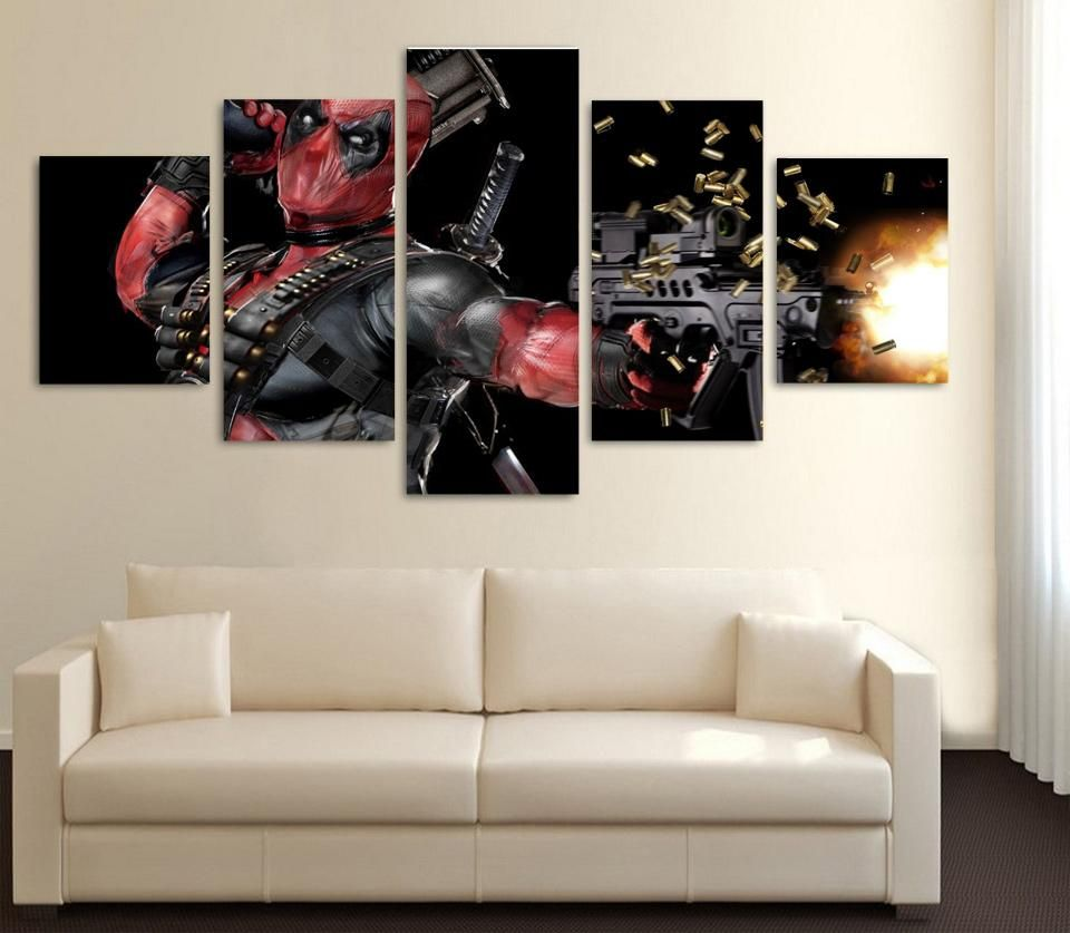 Visit to Buy] 5 Pieces Deadpool Movie Poster Wall Art Picture Modern ...