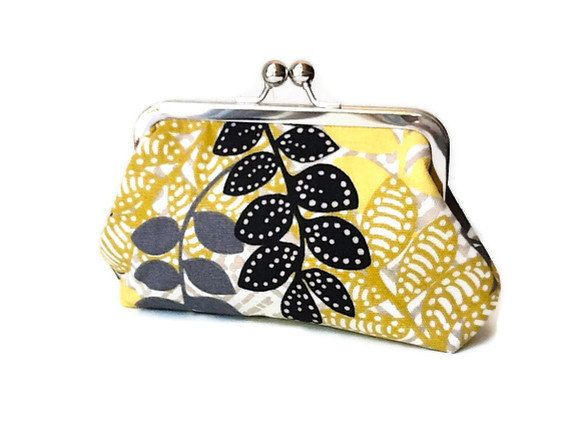 SALE! Mustard yellow black & grey small clutch or make by DessHandbags, $35.00, don't forget to use coupon code