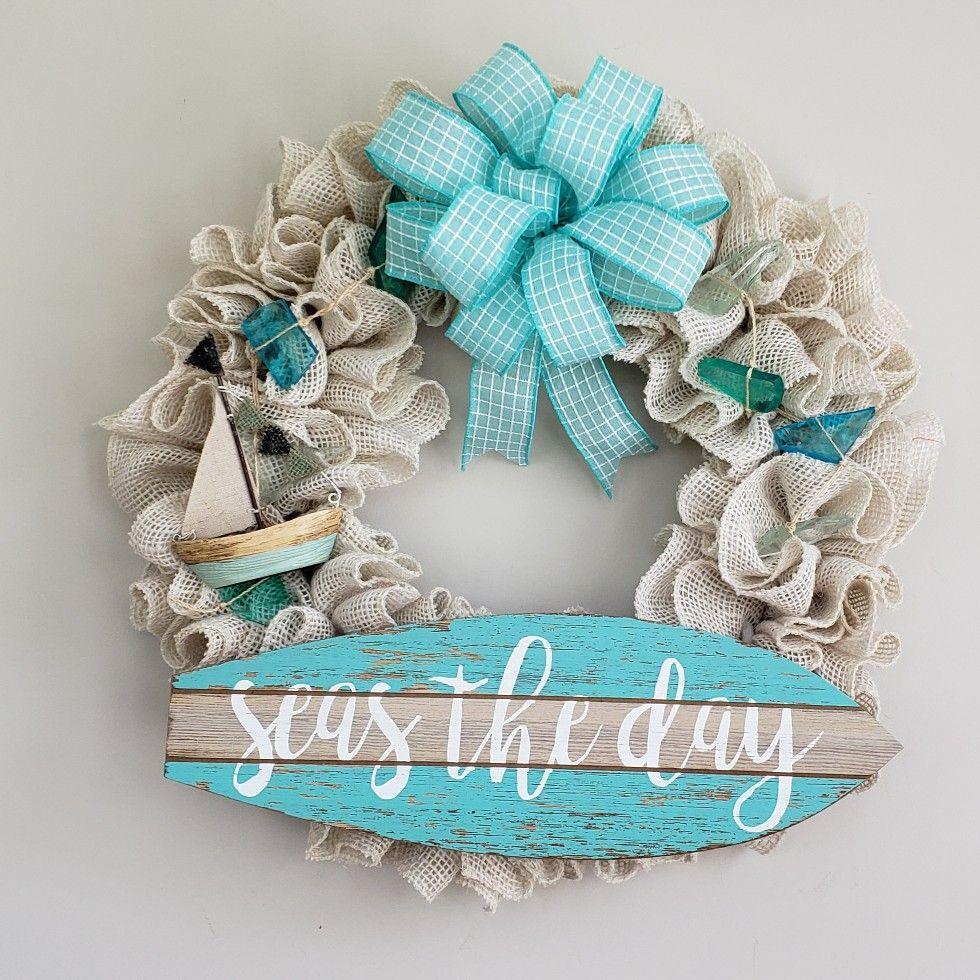 Seas The Day Sign Beach Wreath Door Wreaths Diy Beach Cottage