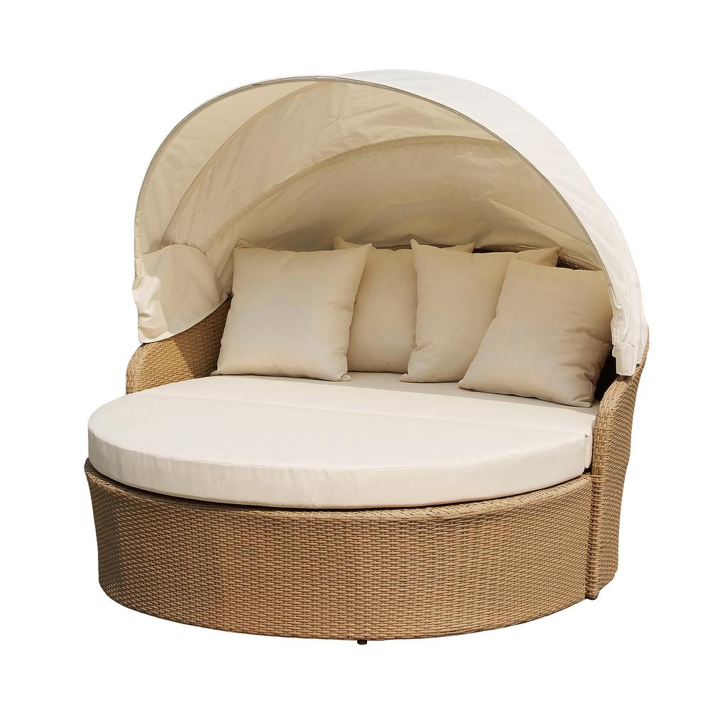 W Unlimited Blueczy Wicker Outdoor Patio Day Bed With Beige Cushions Daybed Canopy Outdoor Daybed Patio Daybed