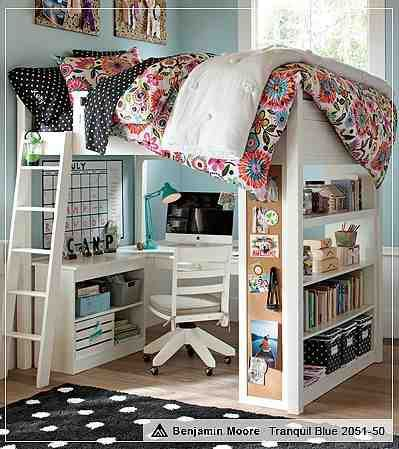 White Loft Bed With Desk Pottery Barn I Love Everything About This