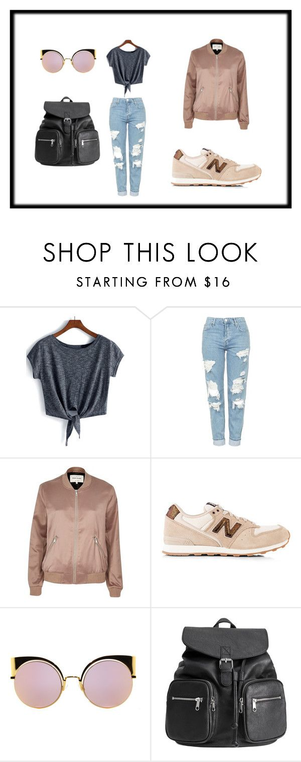 """""""Casual rose gold"""" by li4sa23 on Polyvore featuring Topshop, River Island, New Balance, Fendi and H&M"""