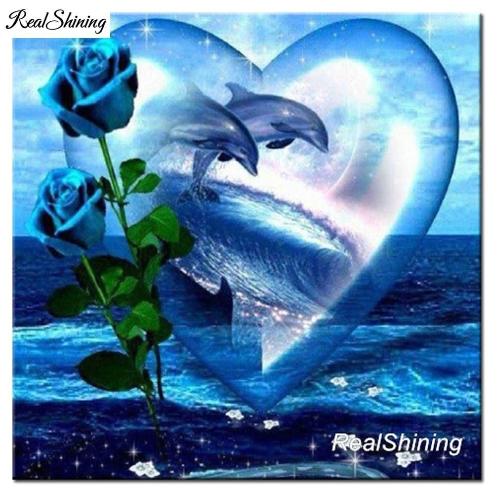 D diy diamond painting blue roses dolphins in heart craft kit