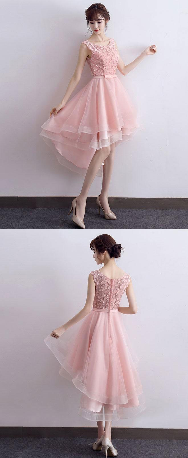 Cute pink lace short prom dress high low evening dress in