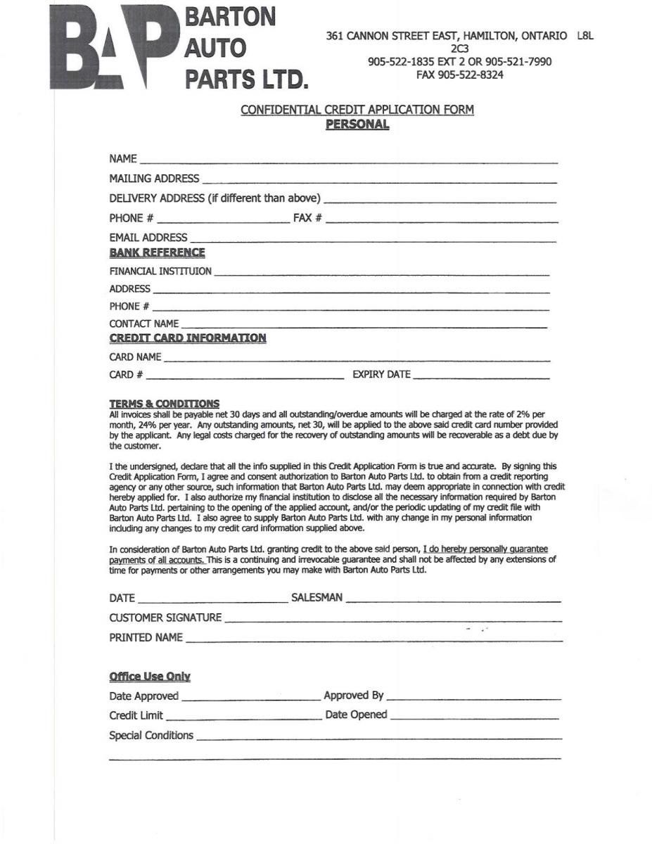 Personal Credit Application Forms Downloads Barton Auto Parts Application Form Job Application Form Application