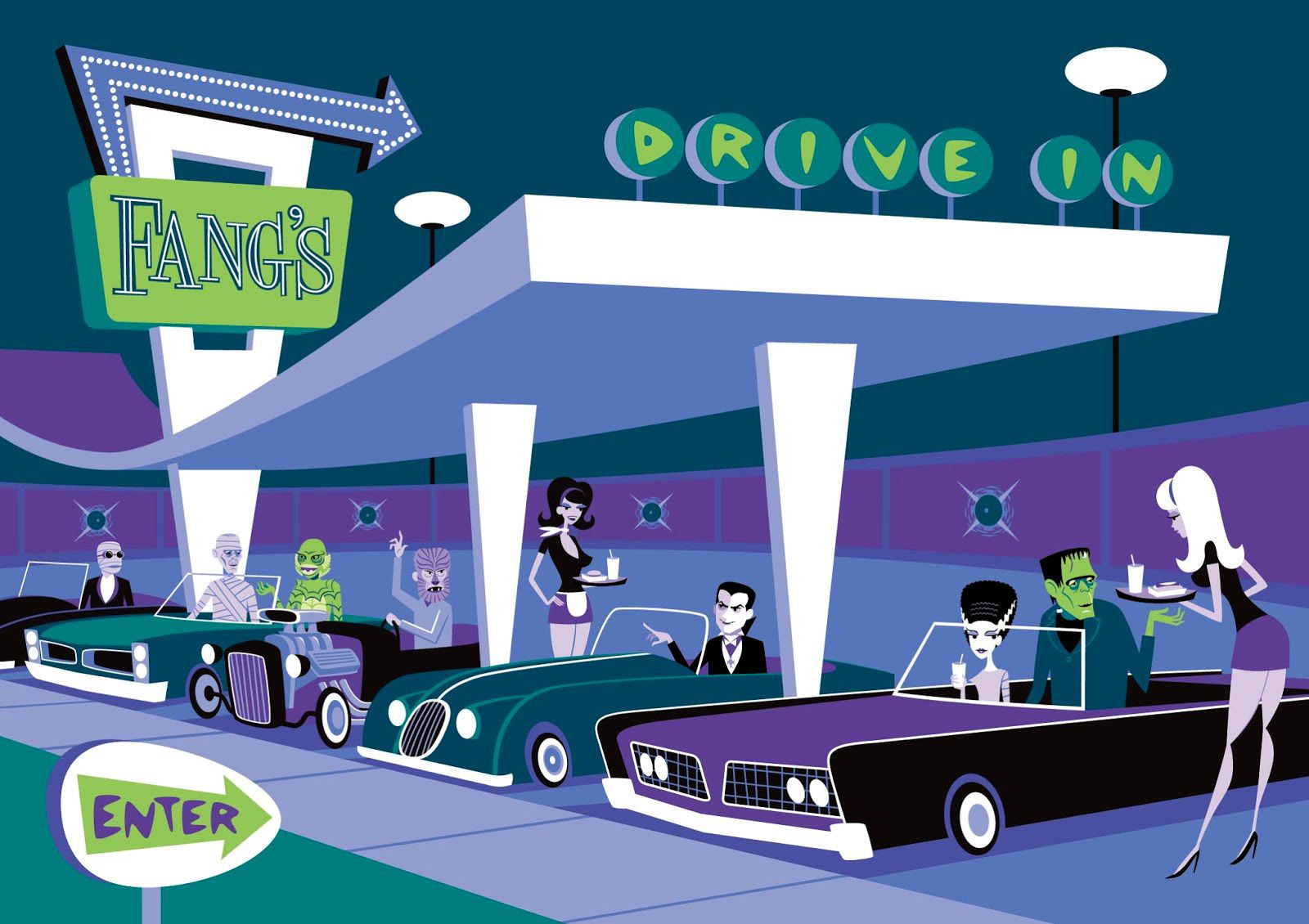 Fang's Drive In, Universal Monsters X Shag, by Shag, 2013.