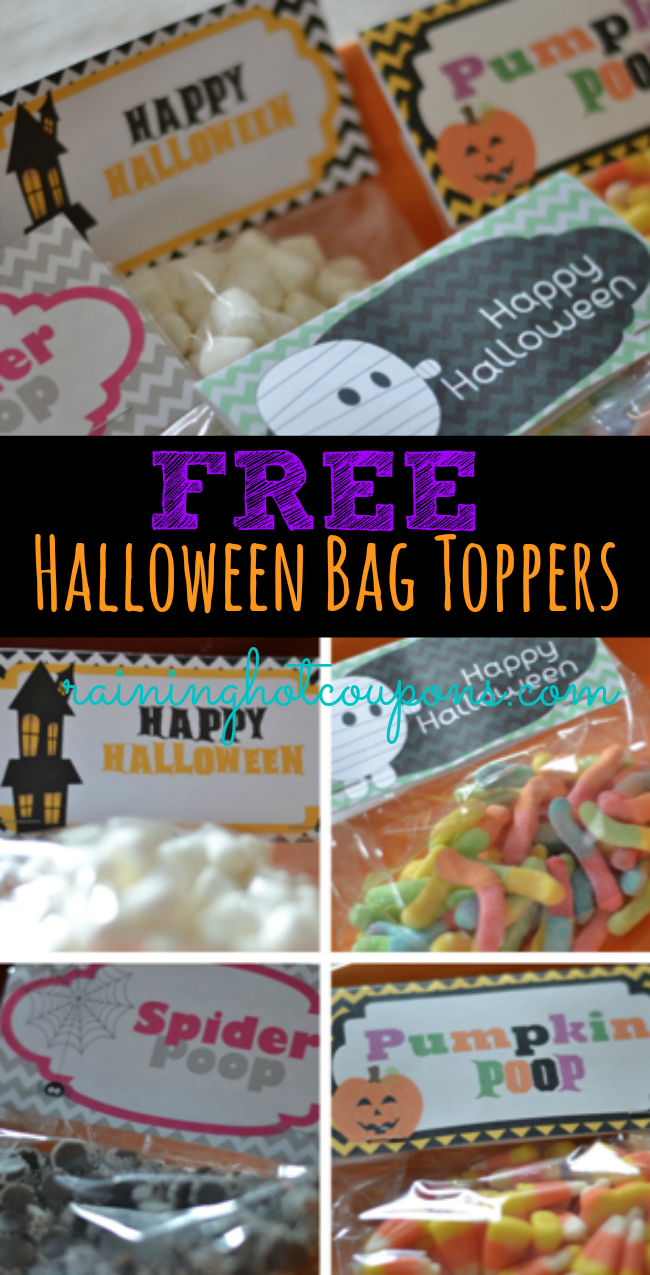 free halloween bag toppers from raining hot coupons pumpkin poop rh pinterest com