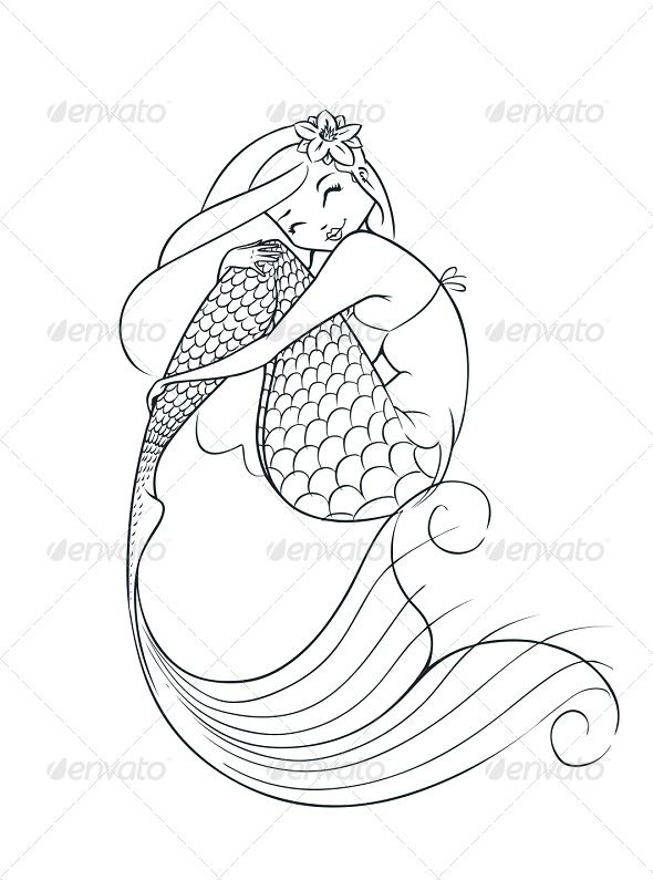 mermaid fairy tale character fonts logos icons pinterest coloriage coloriage sirene and. Black Bedroom Furniture Sets. Home Design Ideas