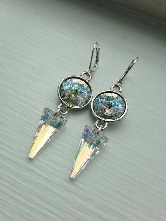 Aurora Borealis, Dangle Silver Plated Swarovski Crystal by FARFELLY
