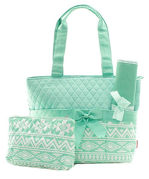 Mint Green Aztec Chevron Quilted Diaper Bag By Theturtletrain 39 00