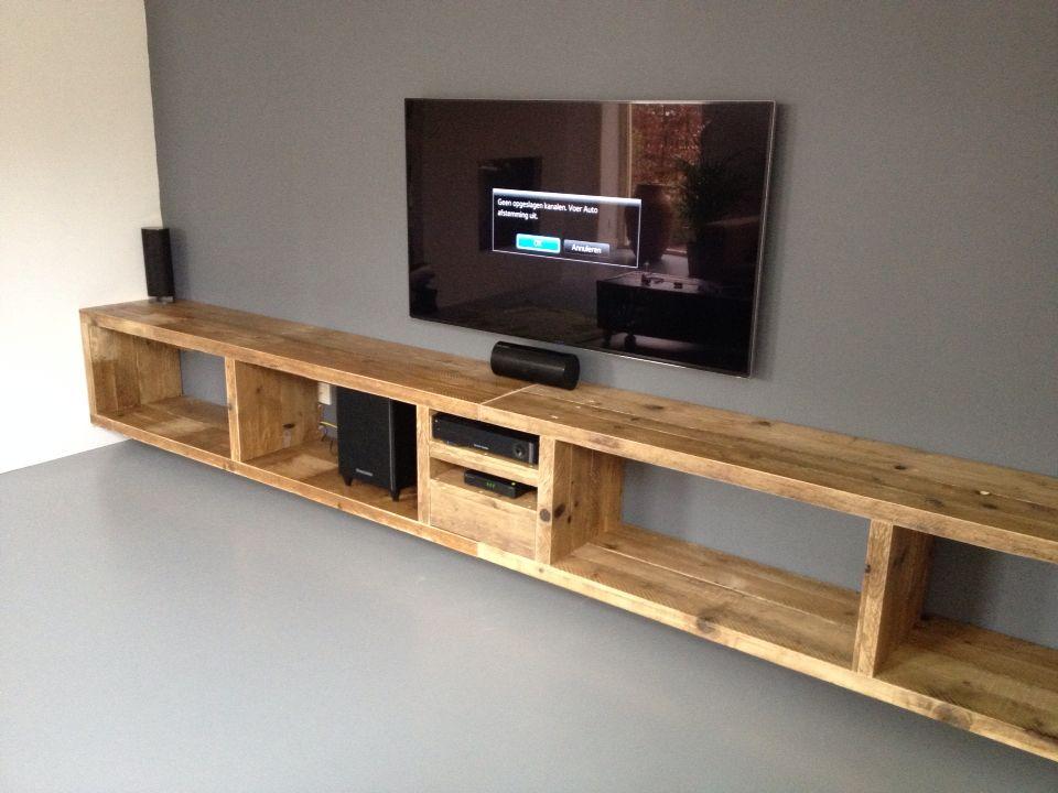 Flatscreen Tv Meubel.Zwevend Tv Meubel Van Oud Steigerhout Diy Tv Stand Home Home