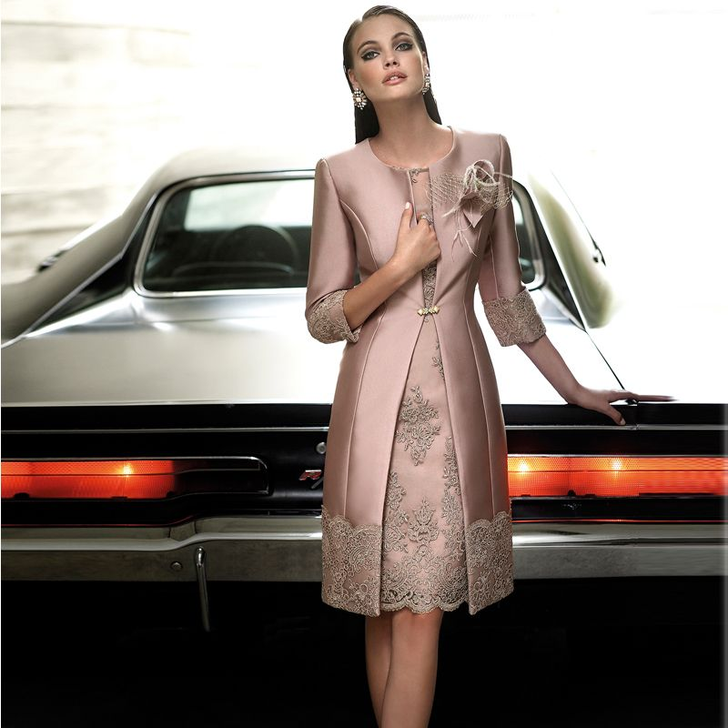 Mother Of The Bride Dresses Satin Long Coat Wedding Formal Guest Gown Outfits