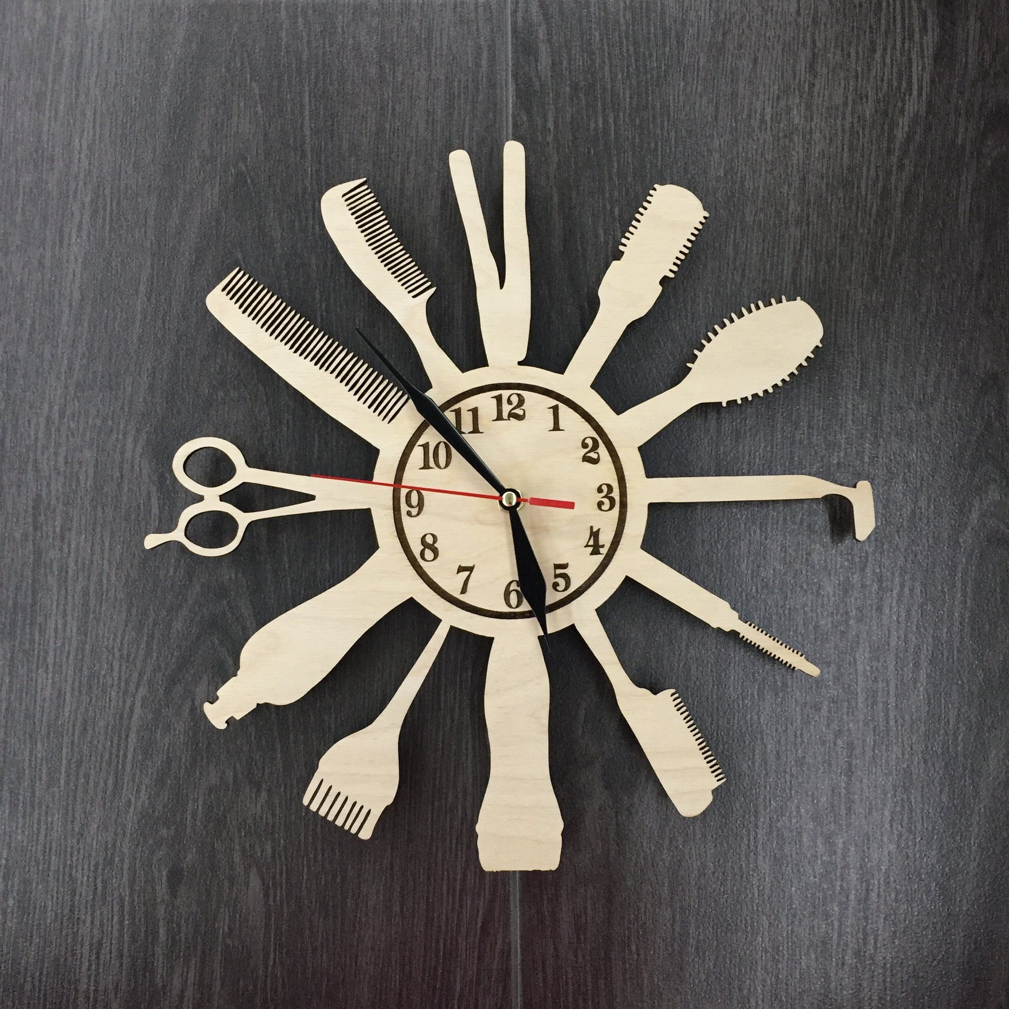 Barber Shop Wood Wall Clock 31 99 Size 12 In 30 Cm Really Cool Gift And Unique Home Decoration Derevyannye Chasy Tvorcheskie Idei Dekor Podelki Ruchnoj Raboty